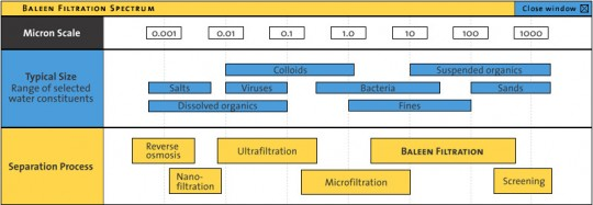 Baleen Filter's place in the filtration spectrum
